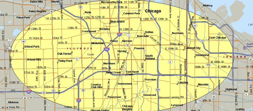 Map of chicago south suburbs